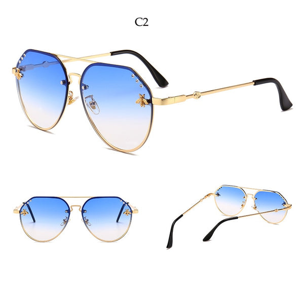Bee Pilot Sunglasses Diamond   Gold Black Aviation Sunglasses