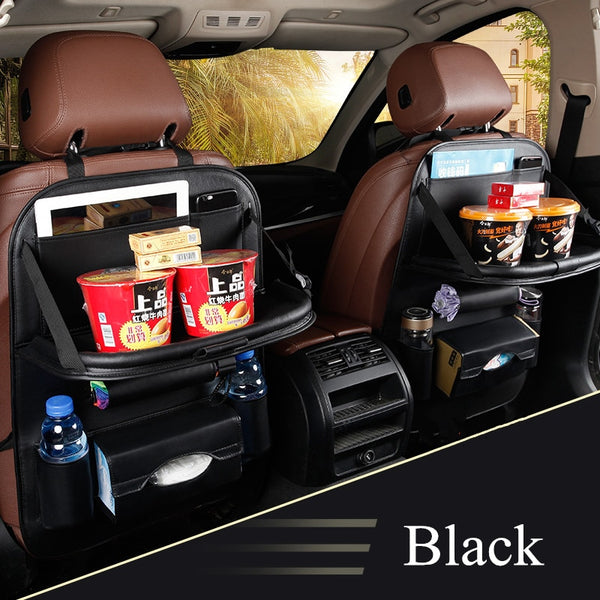 New Car Seat Back Bag Folding Table Organizer Pad Drink Chair Storage Pocket Box Travel Stowing Tidying Automobile Accessories