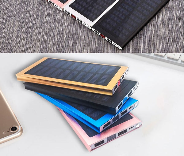 Solar 20000mah Power Bank External Battery 2 USB LED Powerbank Portable Mobile phone Solar Charger for Xiaomi mi iphone X 8plus