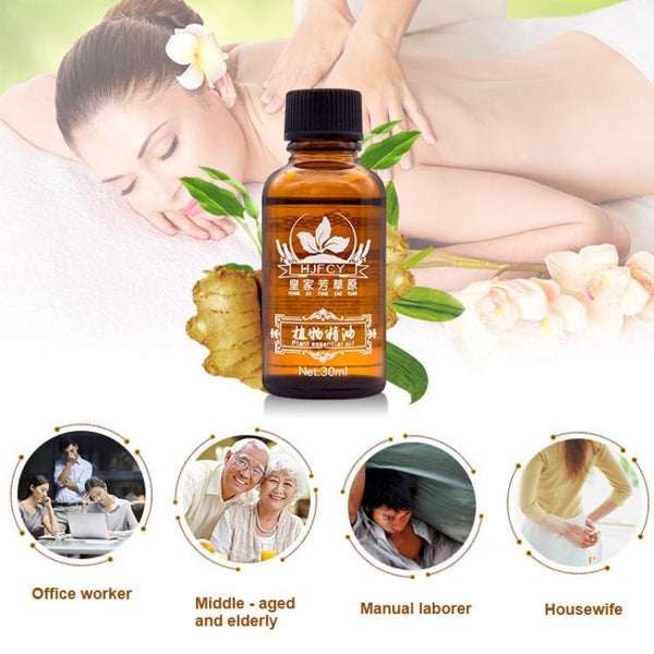 Hot Sale Pure Plant Essential Oil Ginger Body Massage Oil 30ml Thermal Body Ginger Essential Oil For Scrape Therapy SPA