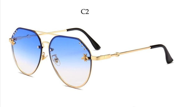Bee Pilot Sunglasses Diamond Big Gradient Sun Glasses Men Female Fashion   Gold Black Aviation Sunglasses women