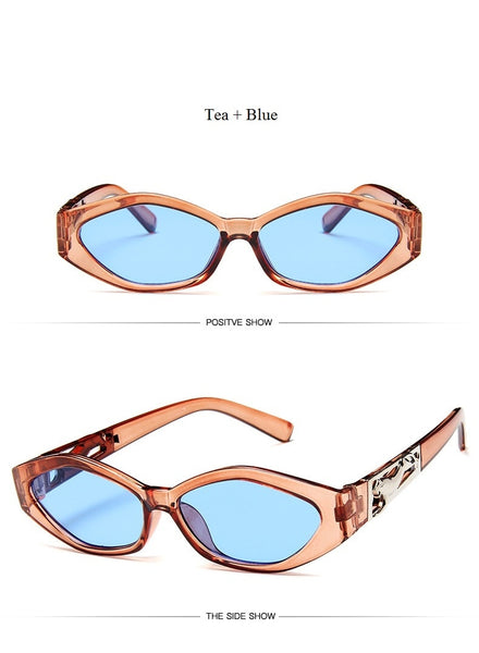 New Sunglasses Fashion Brand Ladies Sun Glasses Small Frame Cat Eye 3D