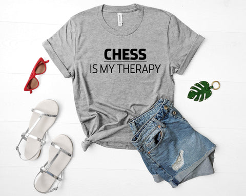 Chess Lover Gift, Chess is my therapy T-shirt Mens Womens-WaryaTshirts