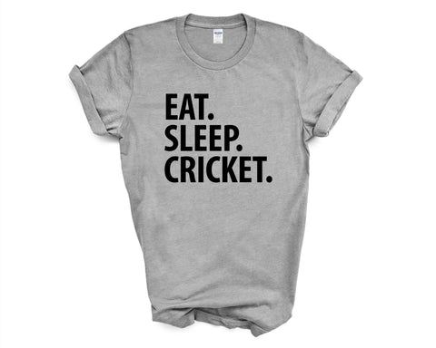Cricket T-Shirt, Eat Sleep Cricket Shirt Mens Womens Gifts-WaryaTshirts