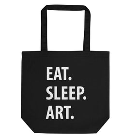 Eat Sleep Art Tote Bag | Short / Long Handle Bags-WaryaTshirts