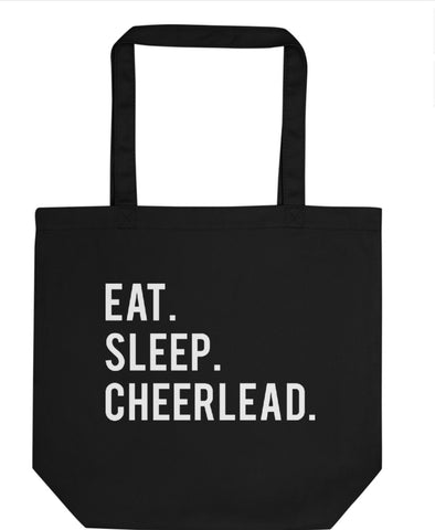 Eat Sleep Cheerlead Tote Bag | Short / Long Handle Bags-WaryaTshirts