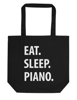 Eat Sleep Piano Tote Bag | Short / Long Handle Bags-WaryaTshirts