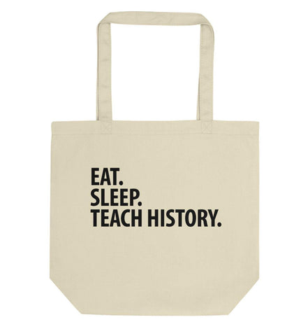 Eat Sleep Teach History Tote Bag | Short / Long Handle Bags-WaryaTshirts