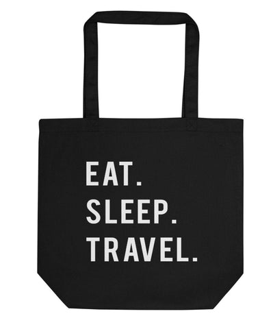 Eat Sleep Travel Tote Bag | Short / Long Handle Bags-WaryaTshirts