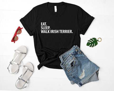 Irish Terrier T-Shirt, Eat Sleep Walk Irish Terrier shirt Mens Womens Gifts-WaryaTshirts