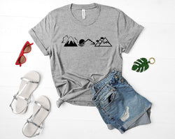 Mountains Shirt Nature Camping tshirt Hiking Mens Womens Mountain Print tee-WaryaTshirts