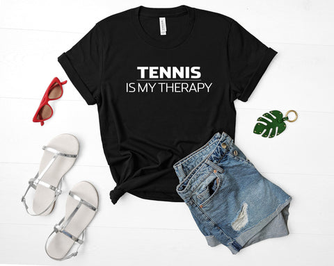 Tennis Lover Gift, Tennis is My Therapy T-Shirt Mens Womens-WaryaTshirts