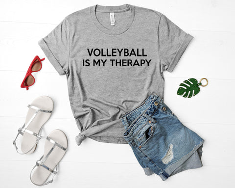 Volleyball Shirt, Volleyball is my therapy t shirt Mens Womens Tshirt-WaryaTshirts