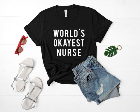 World's Okayest Nurse T-Shirt-WaryaTshirts