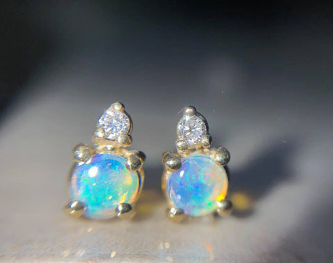 Round Opal with Diamond Studs