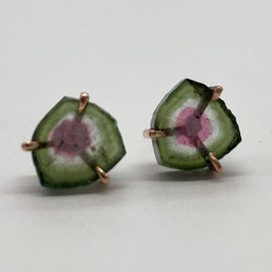 Watermelon Tourmaline Studs