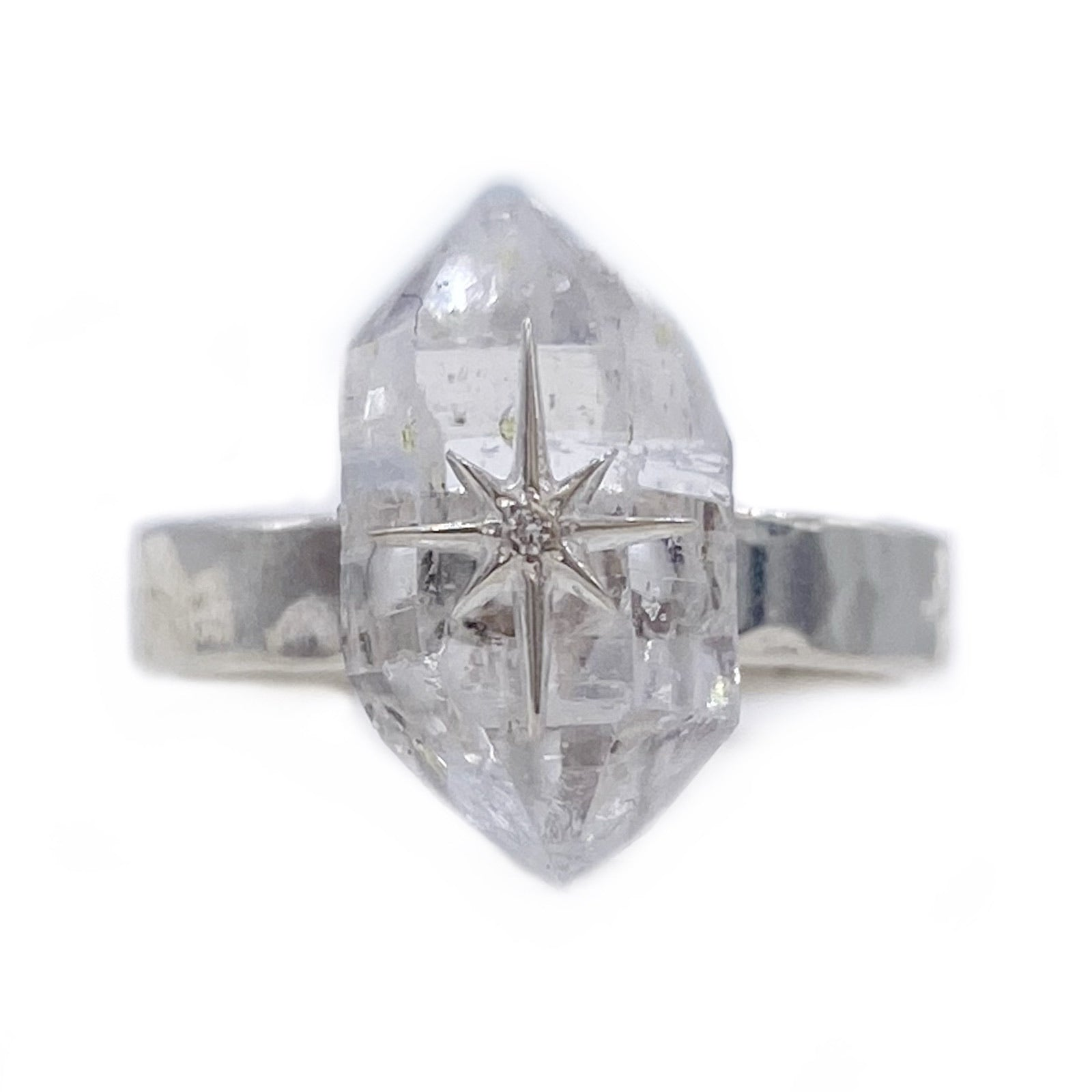 Silver Floating Star Ring