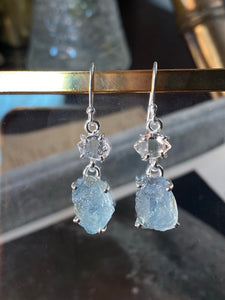 Aquamarine and Herkimer Diamond Earrings