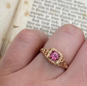 Pink Tourmaline Filigree Ring - Size 6.5