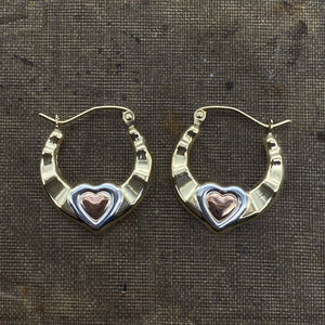 14K Tri-Colored Gold Heart Hoops