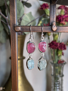 Raw Ruby & Aquamarine Earrings