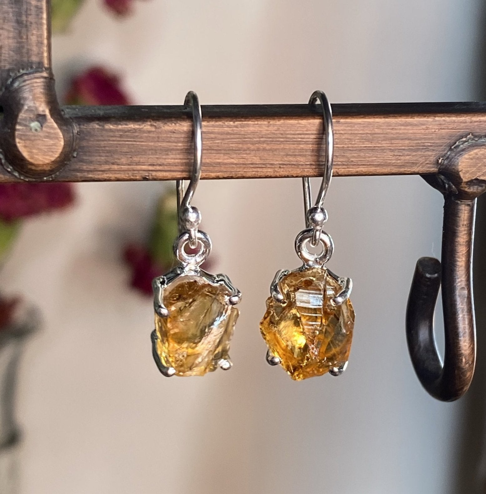 Raw Citrine Earrings