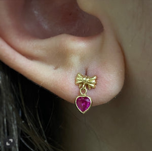 Pink Topaz Bow Earrings