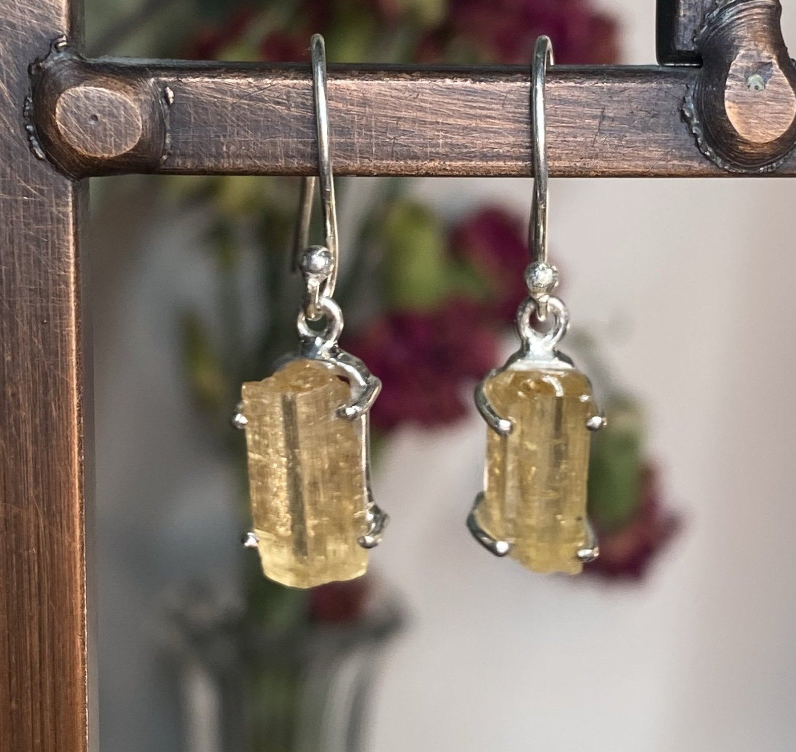 Raw Imperial Topaz Earrings