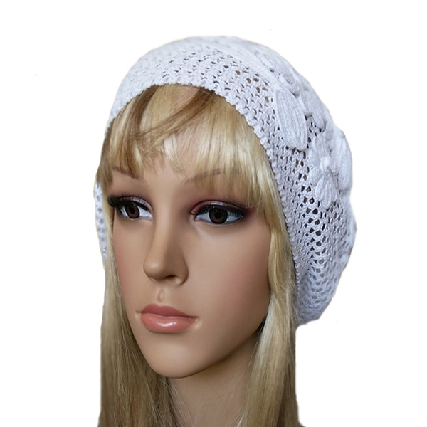 White cotton lace summer beret