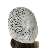 Slouchy Summer Beret - Knit Lace Lightweight Beanie Hat