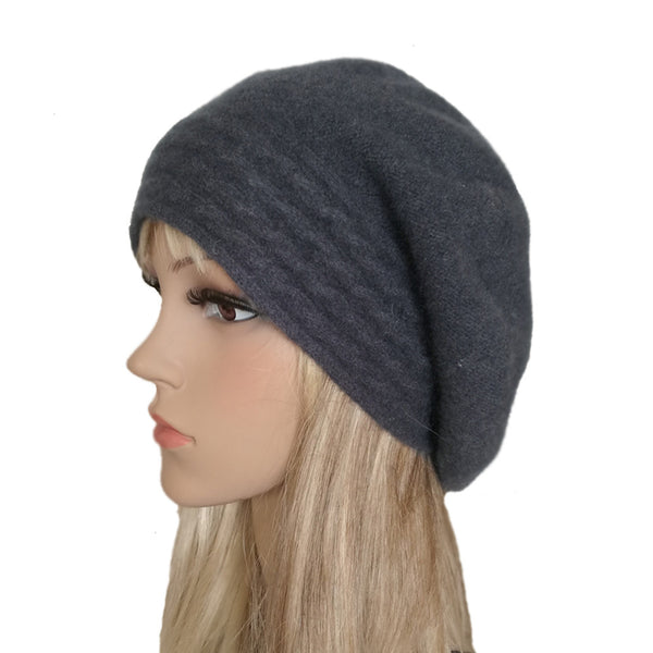 Wholesale Dark gray slouchy felted wool beret for women