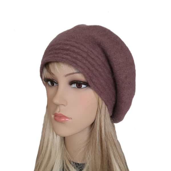 Maroon slouchy felted wool winter beret for women