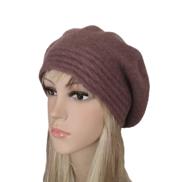 Maroon slouchy felt wool winter beret for women