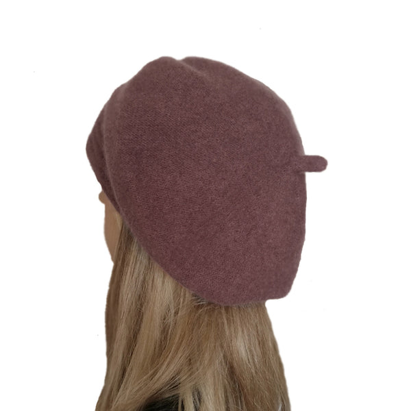 Maroon slouchy felted  winter beret for women