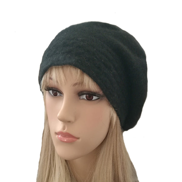 Black slouch felted wool winter beret for women