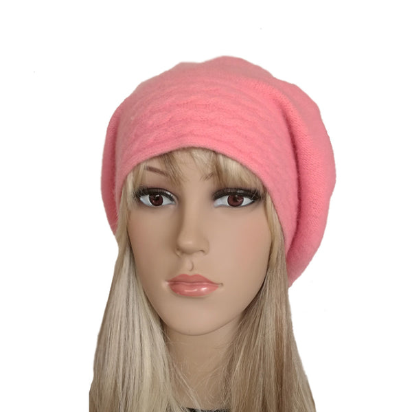 Light pink slouchy felted wool winter beret for women
