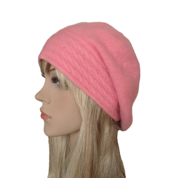 Light pink slouch felted wool winter beret for women