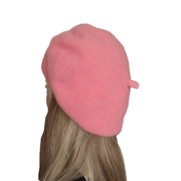 Light pink slouchy felt wool winter beret for women