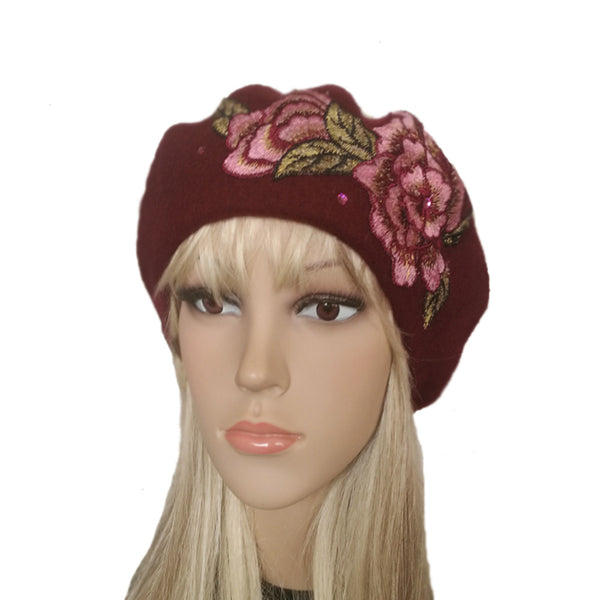 Wholesale Burgundy women's felted wool winter beret