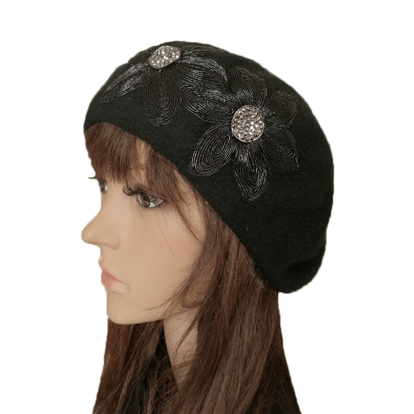 9a38047bbb7 Women s Felted Beret for Winter - Black French Felt Beret for Women ...