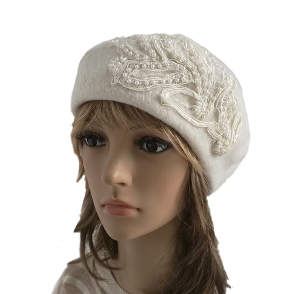 White felt wool women's beret