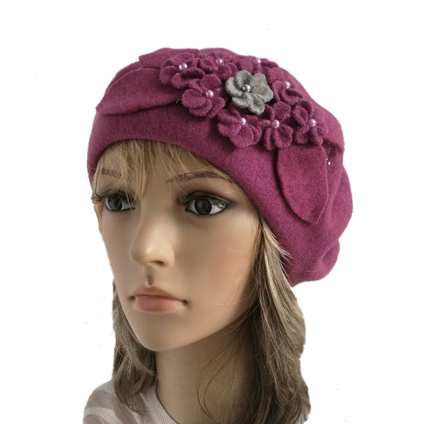 Raspberry rose felted wool beret for women