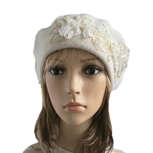 White winter wool beret made of felted wool