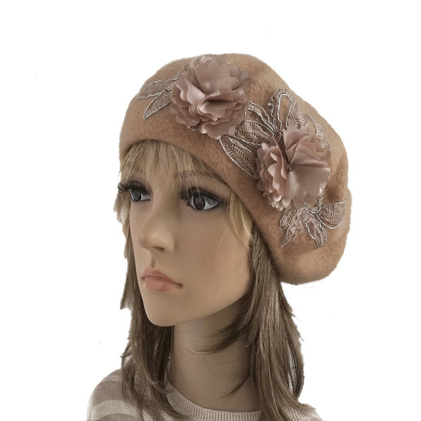 Beige Women's Felted Wool Classic French Beret