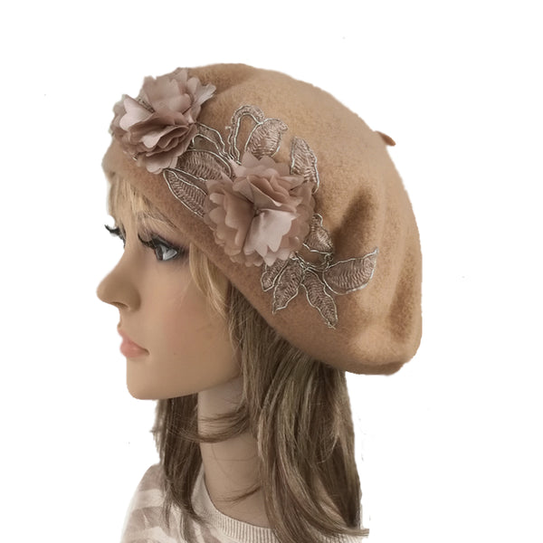 Beige Women's Felted Wool Classic French Beret for Winter