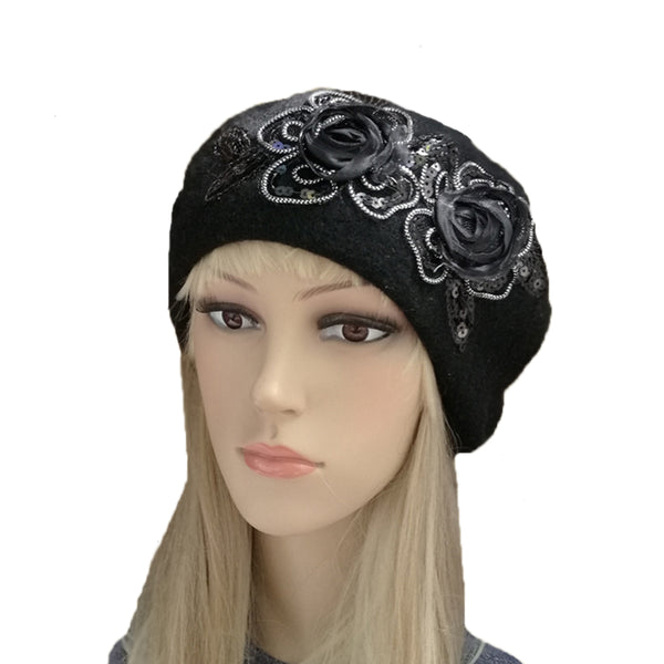 Wholesale Black French Beret with two Applique 1