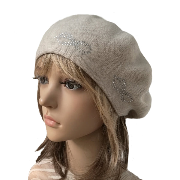 Wholesale Beige Knit Wool Warm Beret for Fall Winter