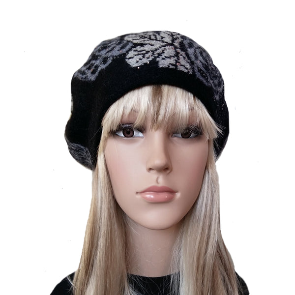 Black knit wool women's beret with flower print for winter