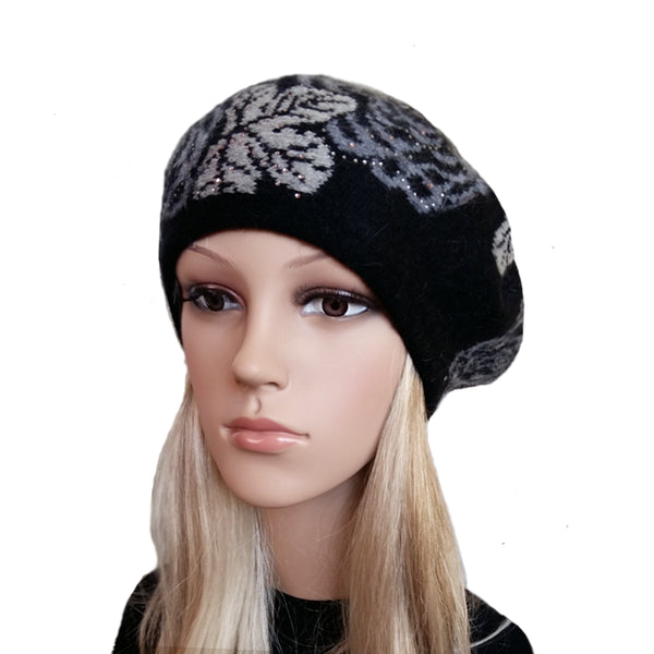 Black knit wool women's beret with flower print