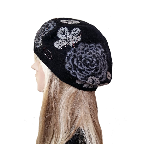 Black knitted wool women's beret with flower print
